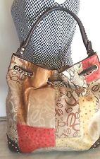 BEBE Brown Gold signature  patchwork drawstring studded leather hobo bag