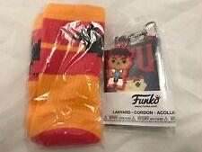 New Batman Orange Red Socks & Street Fighter Ryu Lanyard GS Exclusive Funko