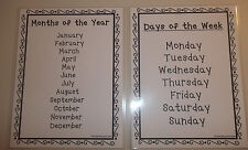 2 Laminated Days of the Week and Months of the Year Reference Posters. 8.5x11