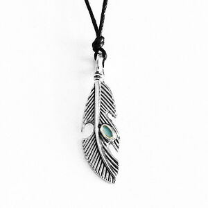 Feather Charm Pendant Choker Necklace with Black Cord