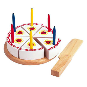 Estia 600254 Birthday Cake with Candles + Knife for Cutting Wood New! #