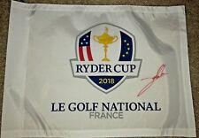 JON RAHM SIGNED 2018 RYDER CUP FLAG EUROPE LE GOLF NATIONAL MASTERS 2019 OPEN
