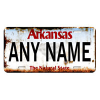 US Metal License Plate - Arkansas V2 Rusted, Personalise your own plate
