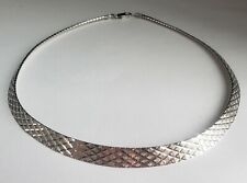 Beautiful 925 Sterling Italy Diamond Cut Omega Necklace 10-879