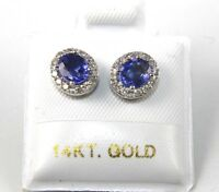 Oval Blue Sapphire & Diamond Halo Stud Lady's Earrings 14K White Gold 1.18Ct