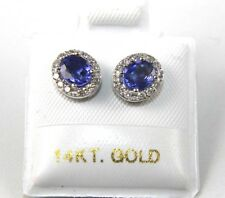 Oval Blue Sapphire & Diamond Halo Stud Earrings 14K White Gold 1.18Ct