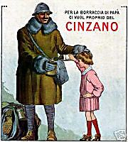 CINZANO-milite-fante-soldato-borraccia-bimba-liquore