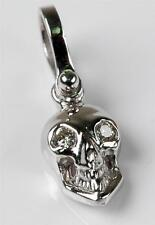 BRAND NEW  SOLID 14KT White Gold Small  SKULL 3-D w/ DIAMOND Eyes