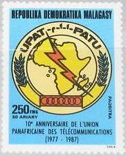 MADAGASCAR MALAGASY 1987 1104 833 Pan African Telecommunication Union Emblem MNH