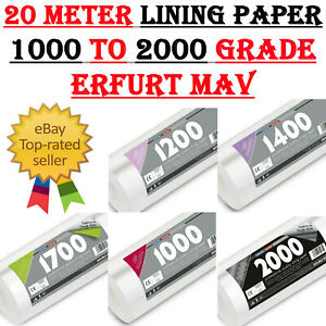 20M Erfurt Mav Professional Quality Lining Paper 1000 To 2000 Grade Double Roll
