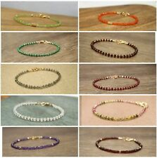 Natural Faceted Mixed Gemstone Beaded Bracelet 14k Gold Over Beads & Clasp