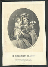 Lamina antique San Jose santino holy card image pieuse grabado estampa