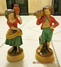 Vintage Borghese Girl & Boy Figurines Chalkware Fruits Vessel Pheasant Harvester