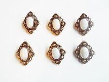 6 Faux Pearl & Gold Retro Antique Style Fancy Dress Coat Buttons 25mm X 30mm