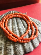 ANTIQUE VICTORIAN RED COLOUR NATURAL CORAL NECKLACE 43 CM LONG RARE COLLECTABLE