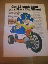 Original 1974 Cap'n Crunch Marx Big Wheel Magazine Ad