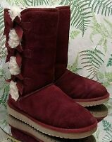 UGG KOOLABURRA BURGUNDY SUEDE LEATHER BOOTS SHEARLING LINED SHOES US WOMENS SZ 6