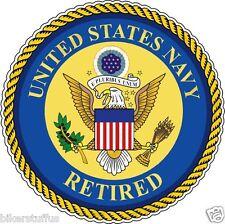 US NAVY RETIRED BUMPER STICKER LAPTOP STICKER ROUND WINDOW STICKER HELMET