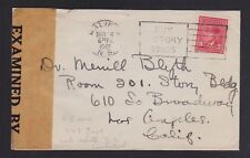 CANADA 1944 WWII CENSORED COVER HALIFAX VICTORY BONDS SLOGAN TO LOS ANGELES USA