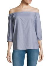 NWT- Trina Turk Darius Off-The-Shoulder Printed Cotton Top, Indigo - Size Medium