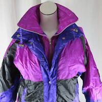 Vintage M Colorblock Bright Purple Pink Magenta Puffer Ski Jacket Hot Spices