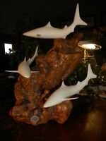 John Perry Art Marine Life Shark Burl Wood Collectible White Sea Sculpture