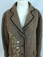 JL Studio Women Coat Jacket Brown with floral embroidery Size 16W