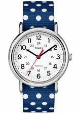 "Timex TW2P66000, Unisex ""Weekender"" Blue Fabric Watch, Indiglo, TW2P660009J"