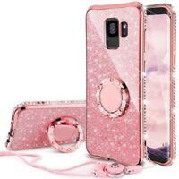 Samsung Galaxy S9 Case, Glitter Bling Diamond Rhinestone Bumper Cute Case Pink