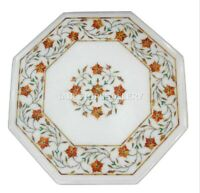 1' White Marble Side Coffee Table Top Carnelian Floral Inlay Bedroom Decors W205