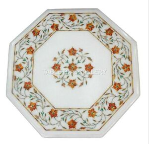 1' White Marble Side Coffee Table Top Carnelian Floral Inlay Hallway Decors W205
