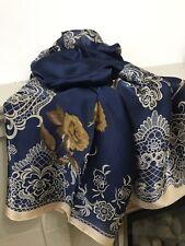 Large Women Scarf Stylish Silk Feel Lace Pattern  Floral edges Scarf Shawl