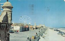 Postcard FL Daytona Beach Boardwalk Amusement Center Ferris Wheel Vtg Cars 1958