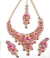 Indian Bollywood Gold Pink Crystal Jewellery  Necklace, Earring and Tikka