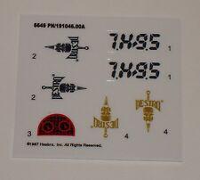 GI Joe Cobra Destro's AGP A.G.P. Anti Gravity Pod Sticker Decal Sheet