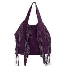 Diwali Sale Suede Leather Fringe Tassel Purple Clutch Bag Evening Shoulder Purse