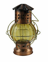 "Globe Oil Lantern 10.5""H Antique Finish over Solid Brass Rustic Non electric"