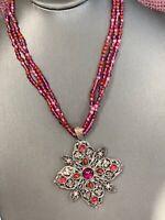 Women's Ladies Necklace Dark Pink Bohemian Statement Pendant Glass Bead
