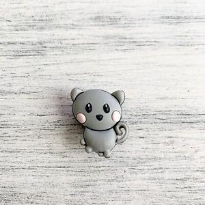 Cute Little Grey Kitten Cat JIBBITZ accessory plug pin clog/croc charm