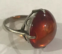 Vintage Baltic Amber 925 Sterling Silver Ring Sz 4.25