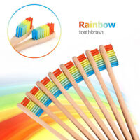 10Pcs Bamboo Toothbrush Rainbow Wood Teeth Brush Fibre Wooden Hand Oral Care