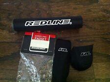 REDLINE BMX PRO PADSET NOS BLACK IN COLOR W  WHITE LETTERING