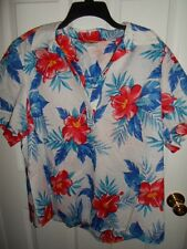 CATHY DANIELS BLUE RED YELLOW FLORAL COTTON TUNIC TOP SHIRT 2X NWT
