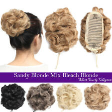 Curly Blonde Piece Hair Bun Adjustable Drawstring Updo Clip In Hair Extension pe