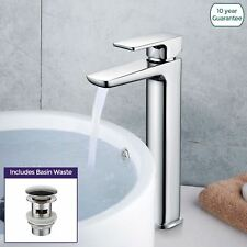 Kenson Bathroom Luxury Chrome Basin Sink Mixer Modern Tall Tap & Waste