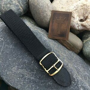 19mm 20mm Perlon Mesh Black Diver NOS Vintage Watch Band German 1960s nos