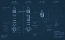 "040 Blueprint - Rocket Kerbal X Kerbal Space Program spaceship 38""x24"" Poster"