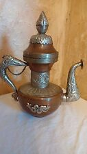 "Vintage Old Collectible Copper Metal Teapot Chinese Dragon Wine Flagon 8"" x 6.5"""