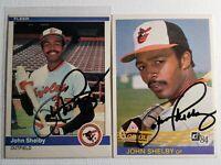 1984 John Shelby Auto Lot Autograph Donruss Fleer Card Orioles Dodgers Signed