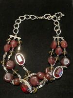 Silver Tone Burgundy Red Purple Cabochon Multi Strand Necklace Statement